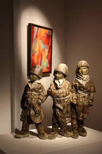kids, enfants, mongolie, sculpture, bronze,terre, couleur, patine,