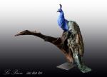 sculpture, terre, oiseau, couleur,bleu, le paon,bois, bronze